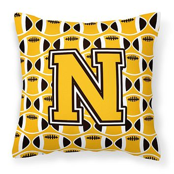 Letter N Football Black, Old Gold and White Fabric Decorative Pillow CJ1080-NPW1414