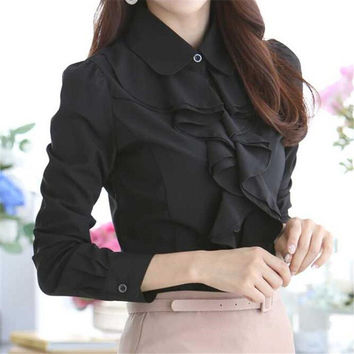 Women New Fashion Blouse Full Butterfly Sleeve Chiffon Peter pan collar Shirt Plus Size Top Button S-3XL Blusas 71139 SM6