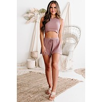 The Chill Lifestyle Ribbed Crop Top & Shorts Set (Orchid)