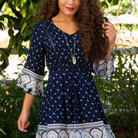 Stargazer Paisley Dress - Navy