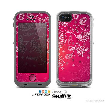 The Vibrant Pink & White Branch Illustration Skin for the Apple iPhone 5c LifeProof Case