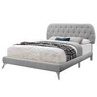 """Queen Bed Frame - 70'.5"""" x 87'.25"""" x 45'.25"""" Grey, Foam, Solid Wood, Linen - Queen Sized Bed With Chrome Legs"""