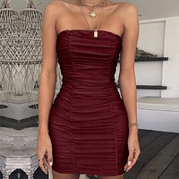 New Sexy Breast-wiping Night Club Folded Buttock Dress for Women Burgundy