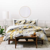 Jacqueline Maldonado Black and Gold Marble Duvet Cover