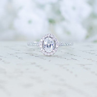 Cubic Zirconia Halo Ring - Oval Cut Ring - Sterling Silver Engagement Ring - Micro Pave Ring - Promise Ring