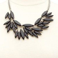 Marquise-Cut Faceted Stone Statement Necklace - Silver