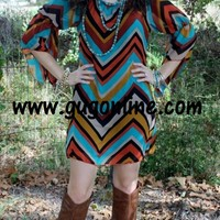 Falling Leaves Chevron Dress
