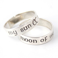 Game of Thrones Rings - My Sun & Stars - Moon of My Life - Pair of Solid Sterling Silver His and Hers Wedding Bands