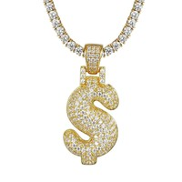 14k Gold Finish Silver Bubble Dollar Sign Pendant Chain