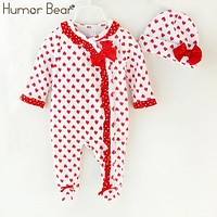 Humor Bear Christma Love Baby Girl Clothes Bow Romper Clothing Set Jumpsuit Hat 2PC Cute Infant Girls Rompers Baby suit