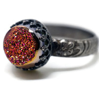 Pink Druzy Agate Ring, Renaissance Style Ring, Oxidized Silver Ring, Floral Band, Pink and Gold Gemstone Ring