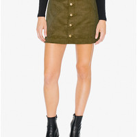 8 Wale Corduroy Button Front A-Line Skirt | American Apparel