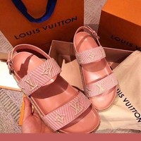 LV Slipper Women Sandals ''Louis Vuitton'' Slippers LV Fashionable casual Shoes Embroidery Print Pink
