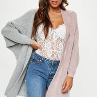 Missguided - Pink/Grey Oversized Batwing Longline Knitted Cardigan