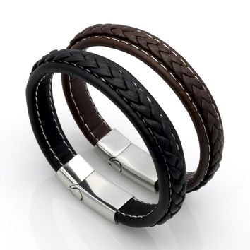 Top Quality Genuine Leather Bracelet Men Stainless Steel Leather Braid Bracelet With Magnetic Buckle Clasp pulseiras masculina