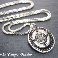 Recycled silver necklace wax seal compass necklace sterling