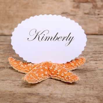 10 Natural Sugar Starfish Shell Place Card Name Holders -Beach Wedding Reception Table Chic Decor - Orange Brown Guest Escort Card Favor
