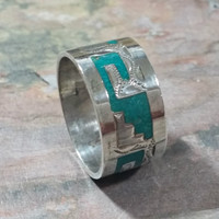 Unisex Size 9 Ring Vintage Southwest Silver Wide Band Ring Turquoise Chip Inlay Staircase Greek Key Motif Mexico Silver Classic Southwestern