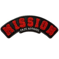 On A Mission Chenille Patch in black and red