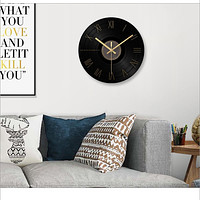 Black Glass & Crystal Made Wide Wall Clock For Décor
