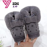 YIDI Hot Women Boots Winter Warm Snow Boots Women Botas Mujer Bow Fur Ankle Boots Women Suede Ankle Snow Boots