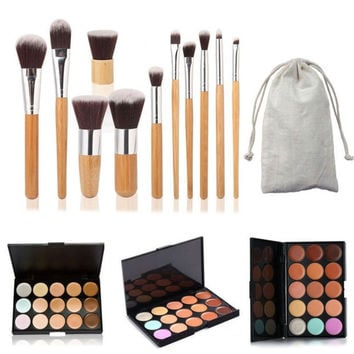 15 Colors Contour Face Cream Makeup Concealer Palette + 11PC Bamboo Brush Set  Gift + Free Shipping + Big Discount