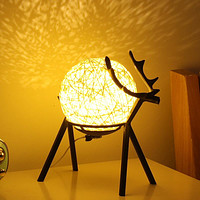 Table Lamp Bedside Lamp Bedroom Night Light Girl Moon Starry Creative Deer Christmas Gift Small Lamp