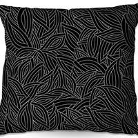 Decorative Woven Couch Throw Pillows from DiaNoche Designs by Julia Grifol Black Leaves Home Decor Unique Designer Artistic Stylish Bedroom Ideas