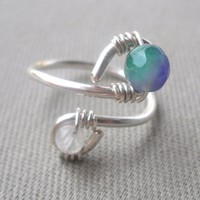 Rainbow Moonstone,Kunzite Wrapped 925 Sterling Silver Wire Ring