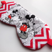 Mickey Mouse Sleep Mask, Disney Eye Mask, Adult Women Teen Girl, Red Black White, Fleece Night Mask, Eyemask Sleepmask, Mouse Nap Shade