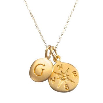 Gold Initial & Compass Charm Necklace