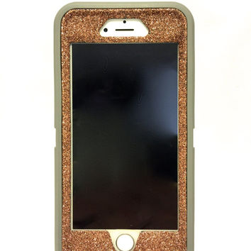 iPhone 6 Plus OtterBox Defender Series Case Glitter Cute Sparkly Bling Defender Series Custom Case  gray / sunstone
