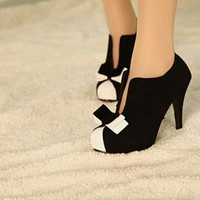 WOMEN SEXY HIGH HEEL BLACK+WHITE TIE FASHION ANKLE SHOES M26