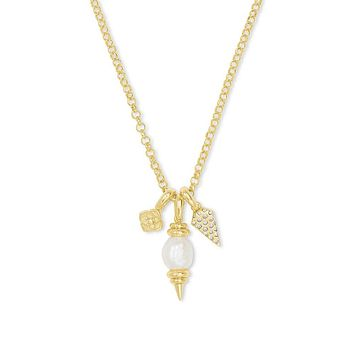 Demi Gold Charm Necklace In White Baroque Pearl