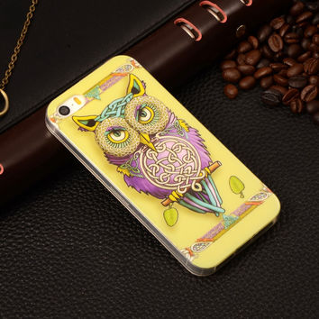 Colorful Owl Painting Rubber TPU Soft Mobile Phone Protective Case Cover For Apple iPhone 5/5S