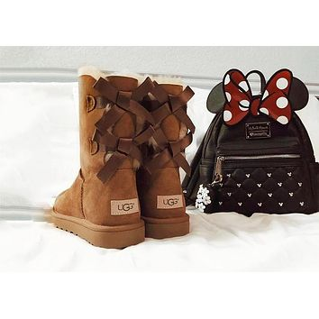 UGG Tide brand ribbon bow boots thick bottom non-slip female models snow boots shoes