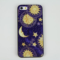 Design iphone 4 4s 5 5s 5c moon stars hard case cover skin, unique iphone 5s case skin iphone 4s case cover, sun moon iphone 5c phone case