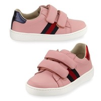 Gucci New Ace Web-Trim Leather Sneaker, Toddler Sizes 4-10