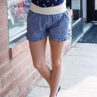 Ruffle Chambray Shorts