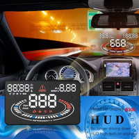 "US Stock! E300 5.5"" Car Head Up Display HUD OBDII Speed Warning System 2D Reflect Display Car Accessories"