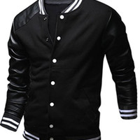 Stand Collar PU Leather Long Sleeve Jacket