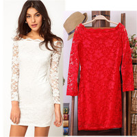 Lace Long Sleeve Mini Bodycon Dress