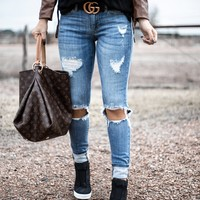 Light Crush Denim Skinny Jeans