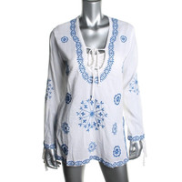 Surf Gypsy Womens Embroidered Long Sleeves Swim Top Cover-Up
