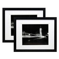 11x14 Black Gallery Picture Frame with 8x10 and 8.5x11 Mat - Two Frames