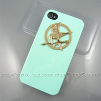 IPhone 4 Case, iPhone 4s Case,The Hunger Games Golden Logo Mockingjay iPhone 4 4S Hard Case Green