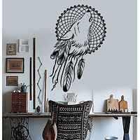 Vinyl Wall Decals Dream Catcher Wolf Bedroom Dreamcatcher Ethnic Stickers Unique Gift (ig3620)
