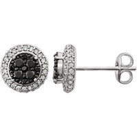 14K White 1/2 CTW Diamond Black & White Halo Earrings