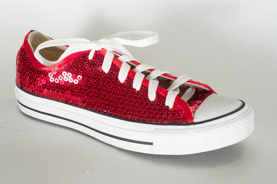 Ruby Red Sequin Converse All Star on Wanelo