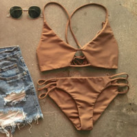 Summer new fashion solid color sexy hollow straps two piece bikini swimsuit Coffee